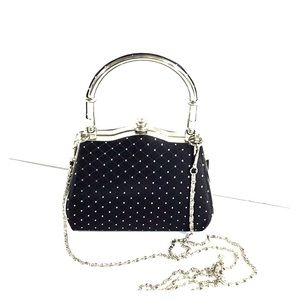 Handbags - Hollywood Style Box Purse Black With Silver